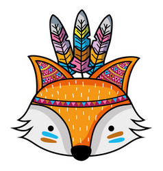 Cute fox head animal with feathers vector