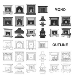 Different kinds of fireplaces monochrom icons in vector