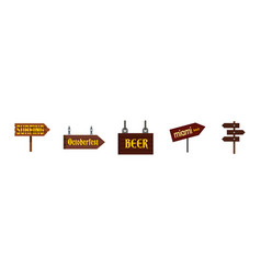 direction wood sign icon set flat style vector image
