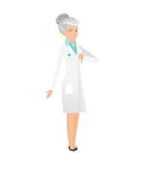 Disappointed caucasian doctor with thumb down vector