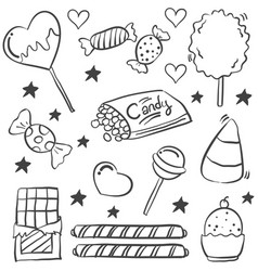 doodle of various candy sketch vector image