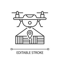 Drone mapping linear icon vector