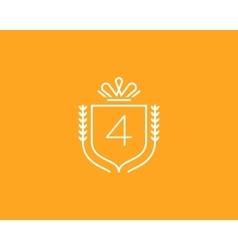 Elegant number 4 logotype Premium numeral crest vector