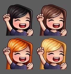 emotion icons smile happy female vector image