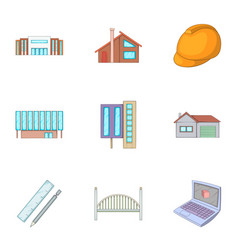 Engineering work icons set cartoon style vector