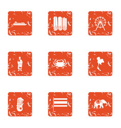 Excursion to asia icons set grunge style vector