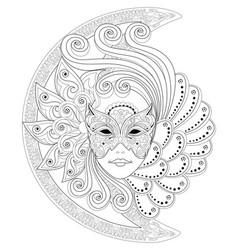 Fantasy drawing girl face in beautiful vector