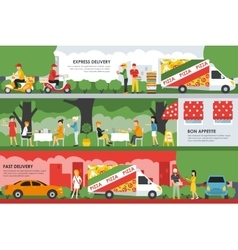Fast Express Delivery and Bon Appetite flat vector