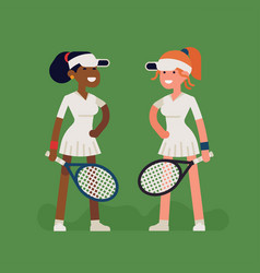 Female tennis characters vector