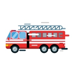 Fire truck car isolated cartoon silhouette vector image