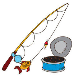 fishing logo fishing rod and a can of worms vector image