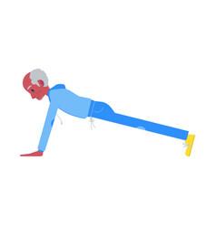 flat elderly black man in sportsuit pushups vector image