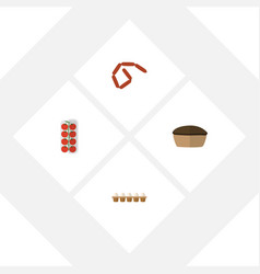 Flat icon eating set of bratwurst eggshell box vector