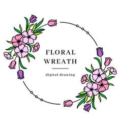 Floral wreath spring frame flower vector