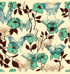 Flowers and butterflies seamless pattern vector