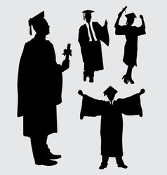 Graduation people action silhouette vector