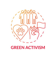 Green activism red gradient concept icon vector