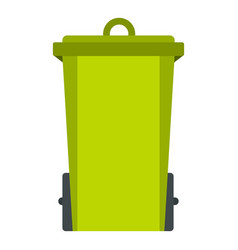Green trash bin icon isolated vector