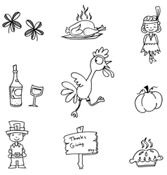 Hand draw element thanksgiving in doodle vector