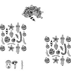 Hand drawn sealife icon set vector