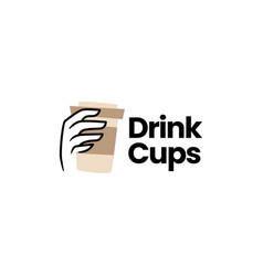 hand hold drink cup packaging coffee tea logo icon vector image