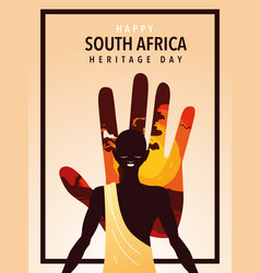 Happy south africa heritage day with person afro vector