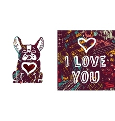 I love you greeting card dog and heart vector image vector image