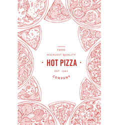 italian pizza banner template hand drawn vintage vector image
