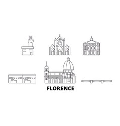 Italy florence line travel skyline set italy vector