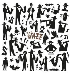 Jazz mans - doodles set vector