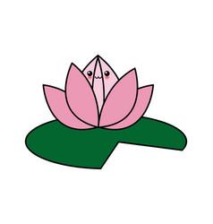 Kawaii flower lotus cartoon design vector