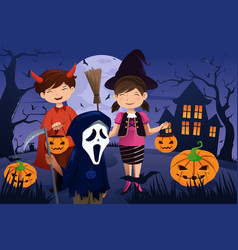 Kids dressed up in costumes trick or treating vector