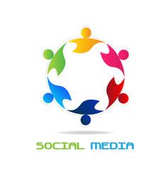 Logo teamwork social media networking vector