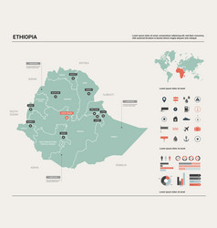 Map ethiopia country map with division cities vector