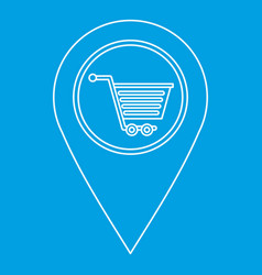 Map pin pointer with shopping cart sign icon vector