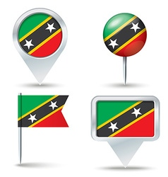 Map pins with flag of Saint Kitts and Nevis vector