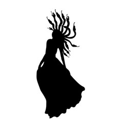 Medusa gorgon silhouette ancient mythology fantasy vector