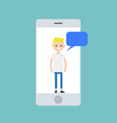 Mobile concept young blonde boy chatting on the vector