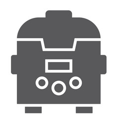 Multicooker glyph icon kitchen and household vector