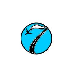 Number 7 traveling plane logo designs inspiration vector