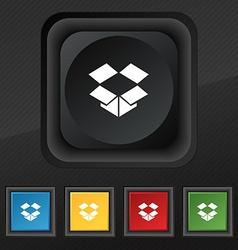 Open box i icon symbol Set of five colorful vector