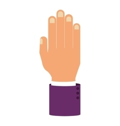 Open palm of hand with sleeve purple color vector