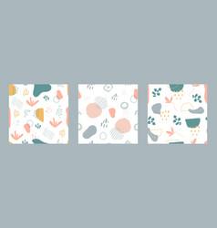 organic shapes seamless pattern set minimal vector image