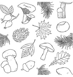 Pattern with forest items vector