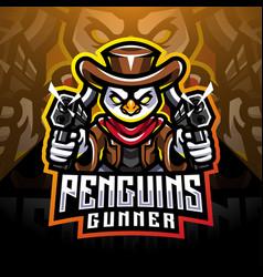 penguin gunner esport mascot logo design vector image