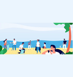 people collecting garbage on ocean beach vector image