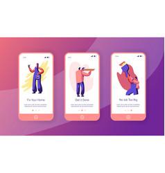 people making repair or renovation home mobile app vector image