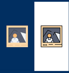 Picture image landmark photo icons flat and line vector