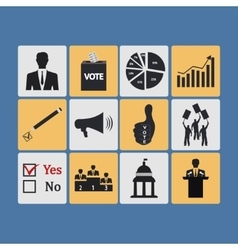 Politics Voting and elections icons - icon vector image