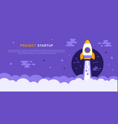 project startup concept with rocket ship vector image